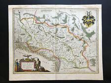 034 Antique Original 1635 map of Poland, Germany Silesia Wrocalw, Breslau /Blaeu