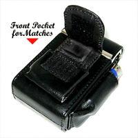 Black CIGARETTE HARD CASE Pouch Genuine Leather Holder 100's Regular USA Seller