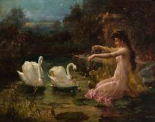 Zatzka Hans At The Swan Lake Canvas 16 x 20    #2291