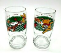 Vintage Anchor Winnie The Pooh Disney Glass Set Of 2 Tigger Oh Bother