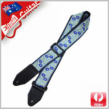 Guitar Strap Nylon Webbing Leather Acoustic Electric Bass Pattern China Blue