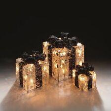Premier Set of 3 Lit Parcels Silver Mesh & Black Bow Boxes Christmas Decorations