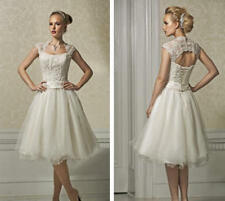 Elegant A Line Short Wedding Dresses Lace Tulle Bridal Gowns Cap Sleeves Newest