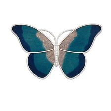 Large Turquoise Butterfly Brooch Silver Plated Brand New Gift Packaging