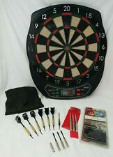 Halex Electronic Dart Board and 6 Darts PLUS spare dart parts (everything shown)