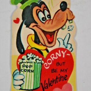 c 1930s 1940s Disney Valentines Goofy Popcorn Corny But Be Mine Diecut USA