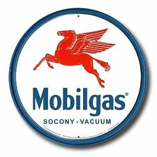 Mobilgas Pegasus Mobil Gas Gasoline Station Round Retro Vintage Metal Tin Sign