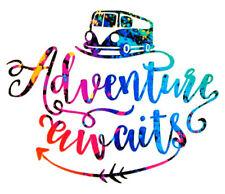"Adventure Awaits Camping RV Camper Vinyl Decal Window - Choose Pattern - 5"""
