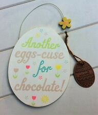 Sass & Belle Easter Pastel Another Eggs-cuse for Chocolate! Hanging Sign 13x16cm