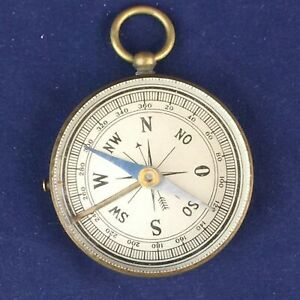 Vintage Brass Compass - Nice Patina, Glass Face, Working