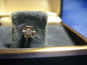 Vintage Men's 14K White Gold Tie Tack With Small Center Diamond in original box
