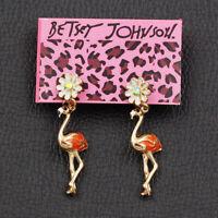 Betsey Johnson Enamel Crystal Cute Flower Flamingo Bird Eardrop Dangle Earrings