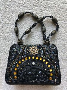 WOMENS EXPRESSIONS NYC BLACK SEQUINED JEWELED Bling HANDBAG Clutch Purse - NEW