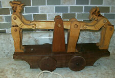 Vintage Carved Wood 2 Man Rail car on wheels Pull Toy
