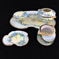 Dresser Vanity set 7 piece Hand painted Blue flowers Gold trim Limoges + other