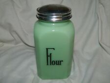 "Jade Milk Glass Jadeite 4 3/4"" Tall Bakery Flour Shaker Top Cannister Jar ~New"