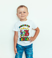 personalised Birthday T- SHIRT/BODYSUIT Super mario Childrens, kids,
