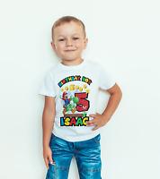 personalised Birthday T- SHIRT/BODYSUIT Super mario Childrens, kids,