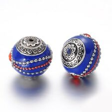 5pcs Antique Silver & Blue Alloy Enamel Round Beads with Rhinestones DIY 20mm