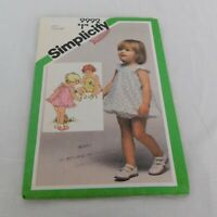 Simplicity Toddlers Romper Sundress Bloomers Pattern 9992 Size 1 Toddler Spring
