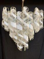 VINTAGE MURANO Spiral Ribbon Tube CHANDELIER Chrome Art Glass