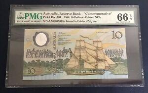 "1988 Australia 10 Dollars P49a  ""Commemorative"" Polymer banknote PMG 66 EPQ"