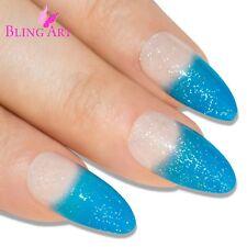 False Nails Gel Glitter Blue Bling Art 24 Almond Stiletto Long Fake Tips 2g Glue