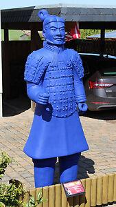 Terrakotta Soldat 193cm (Armee, Soldat, Krieger), lebensgroß, blau, outdoor