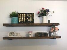 Shelf Scaffold Board Rustic Shelves Industrial Solid Wood+2 steel Brackets.80cm