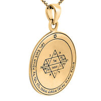 Pendant Seal of King Solomon's Insight Amulet Kabbalah Silver 925 Gold Plated