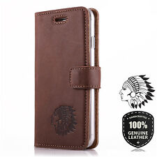 Premium Echtes Ledertasche Schutzhülle Wallet Flip Case Nussbraun - Motiv Indian