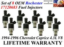 Set of 8 OEM Rochester Fuel Injectors For 1994-1996 Chevrolet Caprice 4.3L V8