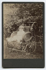 CABINET CARD  BABY IN WICKER BABY CARRIAGE. I.D. WILL WISSEL.