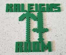 Minecraft Personalized Custom Name Sign, Bedroom Door,Wall, 3D many Colors