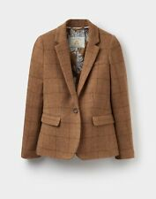 Joules Horatia (x) Tweed Jacket Our 48hr TRACKED Delivery 18 Tan Check