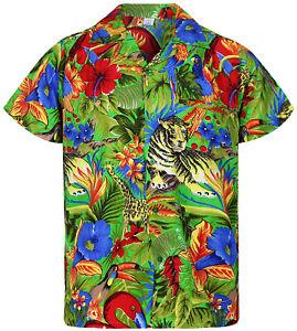 Funky Hawaiihemd Jungle Hawaiian Shirt Hawaii Front-Tasche Kurzarm Grün