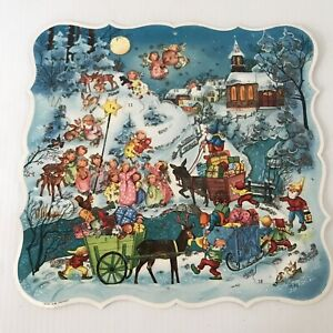 Vtg Made in West Germany ADVENT CALENDAR Christmas Town Angels Elves Glitter