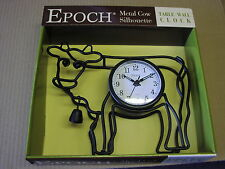 Wrought iron frame Cow Silhouette Wall Clock with Cow Bell VERY NICE GIFT-NEW