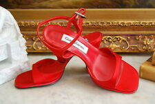GIANNA GIROUX RED SATIN ANKLE STRAP LEATHER SANDALS WOMEN'S SHOES EU 37 US 6.5