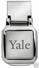 new! YALE UNIVERSITY ENGRAVED SILVER SPRING LOADED MONEY CLIP boxed gift
