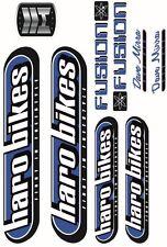 BICICLETTA BMX Bicicletta Trasferimenti Adesivi decalcomanie-Set di 9-Haro Fusion-Blu
