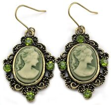 Classic Vintage Antique Design Oval Lady Olive Green Cameo Dangle Earrings eg1