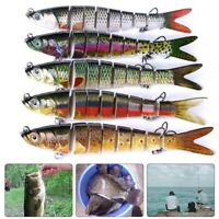 3D Eyes Fishing Lure for Bass Multi Jointed Swimbait Slow Sinking Hook Tackle