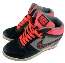 Women Nike Force Sky High Wedge Black Pink Grey Sneaker UK Size 4 (629746-003)