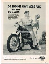 1966 Jawa Trials Model Motorcycle Do Blondes Have More FunVtg Print Ad