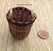 Large Wicker Basket, Dolls House Miniature 1.12th Scale