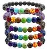 Lot 7 Chakra Healing Beaded Bracelet Natural Lava Stones Diffuser Bracelets Bu