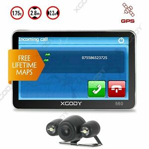 XGODY 5'' GPS Navigation SAT In-car Bluetooth w/ Wired Parking Rear View Camera