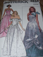 BUTTERICK #4634 - LADIES STRAPLESS - OFF SHOULDER GOWN w/PICK UPS PATTERN 6-10FF