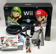 Nintendo Wii Mario Kart Racing Bundle Black Console System w/ Sealed Mario Kart